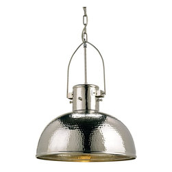 Currey and Company - Syllabus Pendant - The hammered nickel finish of the Syllabus pendant gives its dome shape transitional feel. The hand finishing process used on this chandelier lends an air of depth and richness not achieved by less time-consuming methods.