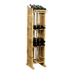 Bamboo54 - Bamboo Wine Rack Tower - No assembly required. Store all your valued beverages in an ultra cool rack. Made of Bamboo. 12.5 in. W x 13 in. D x 52 in. H