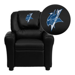 "Flash Furniture - Elizabeth City State University Vikings Embroidered Black Vinyl Kids Recliner - Get young kids in the college spirit with this embroidered college recliner. Kids will now be able to enjoy the comfort that adults experience with a comfortable recliner that was made just for them! This chair features a strong wood frame with soft foam and then enveloped in durable vinyl upholstery for your active child. This petite sized recliner is highlighted with a cup holder in the arm to rest their drink during their favorite show or while reading a book.; Elizabeth City State University Embroidered Kids Recliner; Embroidered Applique on Oversized Headrest; Overstuffed Padding for Comfort; Durable Black Vinyl Upholstery; Easy to Clean Upholstery with Damp Cloth; Cup Holder in armrest; Solid Hardwood Frame; Raised Black Plastic Feet; Intended use for Children Ages 3-9; 90 lb. Weight Limit; Meets or Exceeds CA117 Fire Resistance Standards; Safety Feature: Will not recline unless child is in seated position and pulls ottoman 1"" out and then reclines; Assembly Required: Yes; Country of Origin: China; Warranty: 2 Years; Dimensions: 27""H x 24""W x 21.5 - 36.5""D"