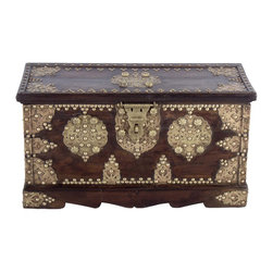 Wooden Basera Chest Small - This storage chests were used in 16th century India by the Royal Queens and princesses to store their personal belongings while travelling. These are strong wooden chest made from teak wood with embossed brass fitting. The brass fitting served multiple purpose of adding strength to the structure, providing a rust free decorative design to last for ages.  These chests generally as passed down to generations.