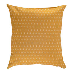 Nine Space - Anchor Pillow Cover, Sunburst - A nod to the nautical, this natty pillow cover has an allover anchor print that adds a pop of personality to your space, whether on a white wicker chaise, a striped couch or atop a bed. It's bold enough to stand on its own, but also looks great mixed with solids and stripes.