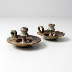 Mid Century Candleholders - signed studio pottery candle holders