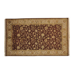 """Hand Knotted Oriental Rug 5'x8' Half Wool and Half Silk Brown Rajasthan SH16665 - The first way one normally finds silk in a rug is as a """"highlight""""  or """"silk touch"""". This will be seen in very high knot count traditional rugs typically. The silk is used in very small amounts throughout the design to highlight, add an extra dimension, and/or pop to the design. The second way silk is incorporated into a wool rug sometimes is when an entire element of a rug or color is done in silk. This is seen in both modern as well as traditional rugs. A design element, for instance a flower or bird, could be entirely carved out in silk within the rug. This design sometimes will also be depressed or raised (have a higher and lower pile) besides being done in silk so it will stand out even more within the rug."""