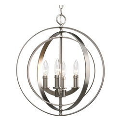 Progress Lighting - Progress Lighting Equinox Four-Light Hall & Foyer - Four-light sphere foyer lantern inspired by ancient astronomy armillary spheres. Interlocking rings pivot for an infinite variety of positions.