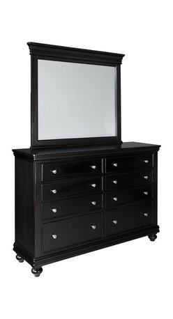 Standard Furniture - Standard Furniture Essex Black 8-Drawer Dresser with Mirror in Black - Essex Black is an updated and streamlined Louis Philippe design style finished in subtle black for a new contemporary viewpoint.