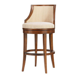 Frontgate - Cabana Swivel Bar Stool - Swivel mechanism provides smooth motion. Ideal height for bar-side seating. Comfortable tight seat and curved back with slight, sloping arms. Crafted from hickory veneers and select hardwoods with a rich Bali finish. Taupe and cream woven upholstery in Bimini Sand. Our Cabana Swivel Bar Stool offers a fresh take on seating at your indoor bar. With linen-hued woven upholstery and a sun-drenched sienna finish, it features tightly spaced, open horizontal slats on the back that call to mind the plantation shutters of an island retreat.  .  .  .  .  . Simple tapered and sloped legs . Coordinates with other items from our Tommy Bahama Ocean Club collection . Arrives assembled .