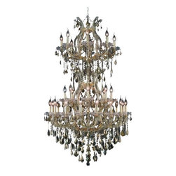 "PWG Lighting - Karla 34-Light 36""D Crystal Chandelier 2380D36SG-GT-RC - Karla was an Empress from 1740 to 1780 in the waning days of the Baroque period. The Baroque love of embellishment is highlighted in the elaborate crystal swags and drops that fully dress these fixtures in a look that is pure luxury. From the gold or chrome finish to the fully lavish crystal dressing, this Karla collection represents opulent sophistication."
