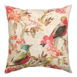 """Manual - Pair of """"Birds of Linen"""" Floral Print Indoor / Outdoor 18 Inch Throw Pillow - This pair of 18 inch by 18 inch woven throw pillows adds a wonderful accent to your home or patio. The pillows have (No Suggestions) weatherproof exteriors, that resist both moisture and fading. Both front an back feature the same print, of a pair of birds perched in a Japanese Cherry tree. They have 100% polyester stuffing. These pillows are crafted with pride in the Blue Ridge Mountains of North Carolina, and add a quality accent to your home. They make great gifts for bird lovers."""