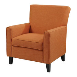 "Coaster - ""Coaster Accent Chair, Orange"" - ""Dare to make a statement in your room with this vibrant accent chair in orange with legs in a cappuccino finish.Dimensions (W x L x H): 33.00"""" x 31.00"""" x 37.00''Seat Depth: 20.00""""Upholstery Material: Woven FabricFinish/Color: orangeAssembly Required: NoMade in China"""