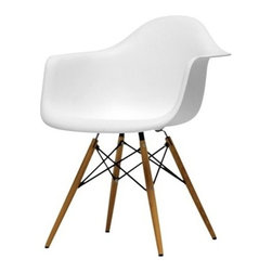 "Lemoderno - Fine Mod Imports Wood Leg Dining Arm Chair, White - The Woodleg Dining Arm Chair is a truly comfortable chair, it has a high flexible back with good 'give' and a deep seat pocket supported by an elegan Wood/Wire Base. Seat measures: 18""W x 15""D    Assembly Required"