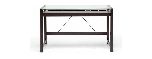 Baxton Studio - Baxton Studio Idabel Dark Brown Wood Modern Desk wIt's Top - Getting work done is fun when our stylish,bel Writing Desk is involved!  This modern desk is beautifully constructed with an MDF frame and very dark espresso brown-finished veneer.  Organization has never been easier with the many integrated compartments built into in the long drawer, which also fits a computer keyboard.  Sleek and professional is the clear tempered glass top, which allows your stored stationery and office supplies in the drawer??s compartments to be open to view and easy to locate when needed.  This simple desk requires assembly and is made in Malaysia.  To clean, dust with a dry cloth and/or use standard glass cleaning solution.  Desk'sion: 47.25 W x 23.625 D x 29.125 H ,sliding shelf of the Desk'sion: 41.5 Wx17.625 Dx2.25 H  storage cubes dimension from left to right:(10.125+15.25+3.25+4.75+4.75)Wx8DX1.375H