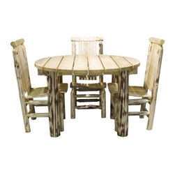 """Montana Woodworks - Montana Woodworks Patio Table in Glacier Country - An enjoyable way to add a rustic look to your patio or pool area. This handcrafted outdoor table is constructed using solid, American grown wood. This table is nicely complimented with the Montana Woodworks patio chairs. (Sold separately) 48"""" diameter table top is 30"""" high. Finished in the """"Glacier Country"""" collection style for a truly unique, one-of-a-kind look reminiscent of the Grand Lodges of the Rockies, circa 1900. First we remove the outer bark while leaving the inner, cambium layer intact for texture and contrast. Then the finish is completed in an eight step, professional spraying process that applies stain and lacquer for a beautiful, long lasting finish. 20-year limited warranty included at no additional charge."""