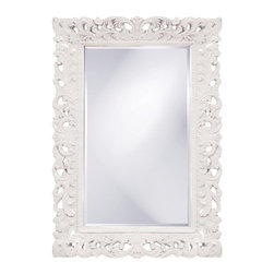 Barcelona Mirror White - This rectangular, Traditional mirror features an ornate open scroll work frame that is finished in a glossy white lacquer.