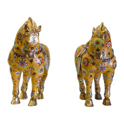 Golden Lotus - Pair  Chinese Yellow Cloisonne Lotus Metal Horses - This is a pair hand made precise Cloisonne Metal horses. The body is in yellow base color and oriental wire color pigment is inset around in flower pattern.