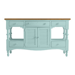 Stanley Furniture - Coastal Living Cottage Buffet - Oversized without being over scaled, this showstopper is destined to become a contemporary classic. Louvered center doors hide a multitude of sins courtesy of an adjustable shelf. Center drawer conceals a silver liner. Made to order in America.