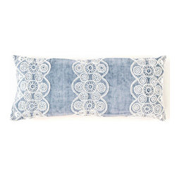 Pine Cone Hill - french knot blue pillow (15x35) - These fine linen decorative pillows feature detailed cotton embroidery on a soft, elegant background.��This item comes in��blue.��This item size is��35w 15h.