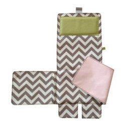 Messy Marvin - Messy Marvin Wipeable Changing Pad 3 in 1, Pink/Green Pillow - This is a great innovative (1) changing pad that triples as a (2) high chair cover and a (3) grocery cart cover. Folds neatly and fits perfectly inside the Marvin Tote or any other diaper bag/large purse. Changing pad has a comfy pillow to cushion your little ones head (especially the squirmy ones who can't stand a diaper change!)