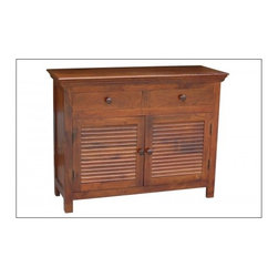 YOSEMITE HOME DECOR - Shutter Door Storage Crendenza - This solid mango storage chest features two faux shutter doors. Two top drawers and two  single solid mango shelves provide for ample storage space. Shown in a soft fruitwood finish w/color matching wood knobs. Made in India.    Item Dimension in 44inches Width X 16inches Depth X 34inches Height