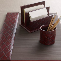 "Horchow - Burgundy Quilted Pen Cup - Beautifully crafted desk accessories add a tailored touch to office organization. Handcrafted of wood and leather. Hand polished. Letter rack, 10""W x 6""D x 6.25""T. Pen cup, 4.25""Dia. x 3.25""T. Blotter, 25.6""W x 18.9""T. Imported."