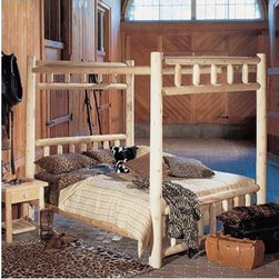 Rustic Cedar - Canopy Four Poster Bed - Add warmth and charm to your home or retreat with these cedar log beds. Each bed comes complete with headboard, footboard, and side rails. Note: All Rustic beds come with a headboard, footboard, and side rails. At an additional cost, metal support systems for double, queen, and king beds are available. King beds will NOT support California king mattresses or box springs. Bed dimensions are outside-to-outside, and may vary due to log size. Features: -Comes with headboard, footboard, and side rails.-Dimensions are outside-to-outside, and may vary due to log size.-8'' clearance under bed.-King size will ship truck freight.-About Cedar Cedar is the natural choice because of its beauty, practicality and durability. Rustic Cedar uses only the finest cedar to create furniture that lasts for generations. It is naturally resistant to decay, insect and weather damage. Because of this superior resistance, cedar is frequently used for outdoor fencing, and siding on homes. Cedar has an exceptionally high strength-to-weight ratio, which means that it is both durable and easy to move about. It does not shrink or wrap as many other woods commonly do. Unlike pressure-treated wood furniture, Rustic Cedar uses no chemical preservatives that may be harmful to your family's health. All cedar log furniture is subject tothe natural process of checking as the wood ''seasons.'' Checking occurs as wood releases moisture across or through the annual growth rings and it does not affect the structural performance or integrity of the wood. Therefore cracks in Cedar furniture are quite normal and can happen at any time. The cracks can vary in sizes but are sure to not affect the quality or resistance of the product as this is a natural process of Cedar furniture..-Needs a box spring or support system.-Distressed: No.-Country of Manufacture: Canada.Warranty: -Manufacturer's 5 year limited warranty. About the Manufacturer: About Rustic Cedar Furniture Crafted
