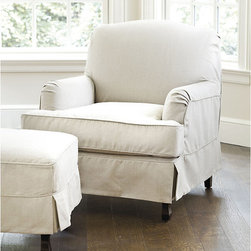 Ballard Designs - Rebecca Chair & Ottoman Slipcover - Essentials - Rebecca Chair & Ottoman features:. Split-corner skirt. Available in five colors. Imported. The deep seat and graceful Charles of London arms of our Rebecca Chair promise cozy comfort from the bedroom to the fireside. Chair and Ottoman cushions are filled with extra deep, channeled down blend that won't shift or lump.  . . .