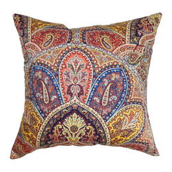 """The Pillow Collection - Lehana Paisley Pillow Blue Multi 18"""" x 18"""" - Make a decor makeover by adding this multicolored throw pillow. This accent pillow instantly updates your interior with its striking design. Adorned with intricate paisley prints in shades of blue, yellow, pink, purple and white, this square pillow is the ideal statement piece. Mix and match this 18"""" pillow with other paisley prints from our collection. Durably made to last for a long time and uses 100% plush cotton fabric. Hidden zipper closure for easy cover removal.  Knife edge finish on all four sides.  Reversible pillow with the same fabric on the back side.  Spot cleaning suggested."""
