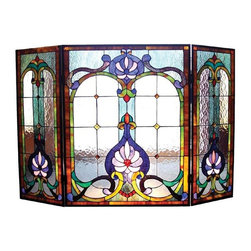Chloe Lighting - Victorian Fireplace Screen - Note: Shade colors will appear darker and less vibrant when not illuminated.. The handcrafted nature of this product creates variations in color, size and design. If buying two of the same item, slight differences should be expected.. This stained glass product has been protected with mineral oil as part of the finishing process. Please use a soft dry cloth to remove any excess oil. . Due to the nature of stained-glass, colors may vary. This elegant, Tiffany-style fireplace screen is a classic Victorian design. A welcome addition to any home decor, the screen is created from pieces of stained art glass and features cheerful shades of blue, green, gold, beige and clear water glass. 44 inches wide x 28 inches tall.. Product is hand made, so the color may vary slightly from image. This product contains lead, a chemical known to the state of California to cause cancer, birth defects, and other reproductive harm if ingested