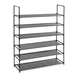Richards Homewares, Inc. - 6-Tier Storage Shoe Rack - This 6-tier shoe rack is a stylish and sturdy way to conveniently store shoes and other items and save space. Fabric shelves keep sandals and heels from slipping through.