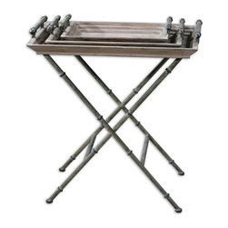 Uttermost - Uttermost Coyne 30x17 Rectangular Folding Tray Table - Folding Iron Base and Tray Handles in Distressed Verdigris Bronze, with Two Trays and Table Top Made of Solid, Weathered Fir Wood.