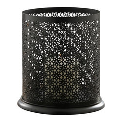 Alliyah Rugs - Chimney Iron Lantern Medium - Chimney iron lantern is perfect for tea lights or dinner candles. Made from aluminum base and iron, this stunning lantern features a geometric grill design. It is also available in a smaller, larger version.