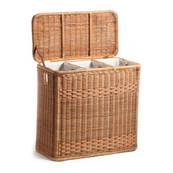 High-Quality 3-Compartment Wicker Hamper, Toasted Oat - This hamper is made of heavy-gauge rattan wrapped over a furniture-quality pole frame. It has three compartments (each with its own cotton liner) for sorting and a hinge lid to hide away clothes.