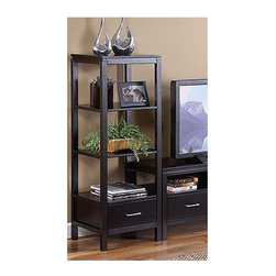"""Linon - Sutton Plasma TV/Audio Rack - With a durable MDF construction, this stylish piece of furniture would be a great addition to a living room or den area. This TV Tower has three shelves for displaying things like plants and pictures and one drawer for enclosed storage for items you want to tuck away for safe keeping. Would look great paired with the Sutton Black Plasma TV Stand! Note: TV towers do not come as a pair and are sold separately. Features: -MDF construction.-Sutton collection.-3 Shelves.-1 Drawer.-Material: Rubberwood and Rubberwood Veneers over Particle Board and MDF.-Product Care: Clean with a soft, damp cloth.-Solid Wood Construction: No.-Finish: Black.-Powdercoat Finish: No.-Adjustable Shelving: No.-Scratch Resistant Shelves: No.-Cloth Back Detail: No.-Handle Material: Chrome.-Multimedia Storage: No.-Casters: No.-Sand Lead Fillable: No.-Stabilizer Feet: Yes.-Ventilation Thermal Management: Open back.-Lighted: No.-Cable Management: No.-Distressed: No.-Hardware Included: Yes.-Shelf Weight Capacity: 20 lbs per shelf.Dimensions: -Assembled Dimensions Height: 51"""".-Assembled Dimensions Width: 18"""".-Assembled Dimensions Depth: 16"""".-Shelf Depth: 16"""".-Shelf Width: 16"""".-Open Storage Area Height: 12"""".-Open Storage Area Width: 16"""".-Open Storage Area Depth: 16"""".-Assembled Weight: 51 lbs.Assembly: -Assembly Type: Assembly Required.Warranty: -Product Warranty: 6 Months."""