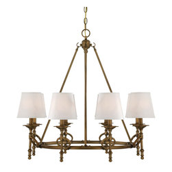 Savoy House - Foxcroft 8-Light Chandelier - Foxcroft will add an elegant touch to your home decor with clean lines and a lustrous Aged Brass finish. Designed by Brian Thomas, these stunning fixtures mix classic design with contemporary flair.