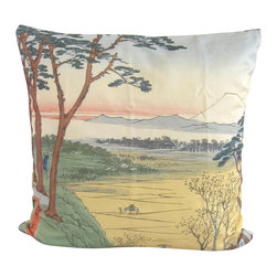 Poetic Pillow - Hiroshige Grampa's Teahouse Pillow - Transform any space with a pillow from Poetic Pillow. Each pillow is inspired by fine works of art and printed on the front and back.   Covers are made of pre-shrunk satin-like polyester fabric. All seams are finished to prevent fraying and pillow covers have a knife edge finish.. A concealed zipper allows for ease of inputting pillow inserts.  A duck feather insert is included for soft yet supportive feel.  Cushion inserts are encased in a cotton cover and filled with 100% duck feather.  All research, design and packaging is completed in Oakland, California.