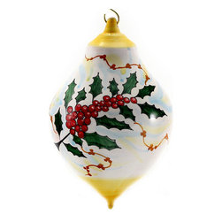 Artistica - Hand Made in Italy - CHRISTMAS ORNAMENT: Holly - Ball Drop Large - Ultra thin clay masterfully hand thrown by one of the best potter in Deruta-Italy.