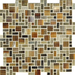 "Glass Tile Oasis - Desert Unique Shapes Brown Kitchen Frosted Glass - Sheet size:  Approx 1.03 Sq. Ft.     Tile Size:  1"" x 1""  1/2"" x 1""  1/2"" x 1/2""     Tiles per sheet:  240     Tile thickness:  1/4""      Grout Joints:  1/8""     Sheet Mount:  Paper Face      Sold by the sheet      - These tiles are made from hand-poured glass and designed with variations of color  tone  shade and size for a distinctive appearance. Our production process incorporates creases  wrinkles  shivers  waves  and bubbles designed to catch all forms of light for a brilliant effect. These characteristics enhance the final beauty and uniqueness of each installation."