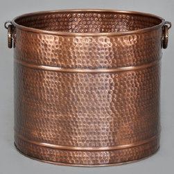 """Copper Planter Large 3 sizes - Solid copper planter available in 3 sizes,   13"""" Diameter, 15"""" Diameter, and 17"""" diameter.  Each planter is hand hammered and hand detailed for deep finish lustre and unique character.   Lacquered to resist tarnishing.  Note medium size 15"""" diameter is pictured."""