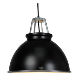Original BTC - Titan 3 Pendant & Diffuser - Black - Original BTC - We love the classic industrial look of the Titan Pendant. Designer Peter Bowles used an actual mold from the 1940's that produced these lamps for offices and factories at the time, but then he updated it for a more modern setting. We think it's an ideal choice for a kitchen, dining room, or workspace, since it is mostly downward lighting. But, if brightness isn't your thing, it comes with a frosted glass diffuser to give a softened, glowing light. The lamp is UL listed and suitable for commercial spaces. This lamp is the larger version of the Titan 1. Manufactured in a factory in the UK dedicated to green manufacturing practices.