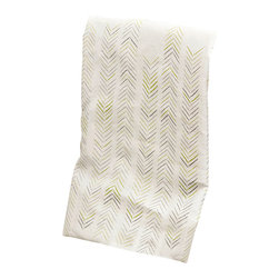 "Ruff House Art - Kitchen Tools Tea Towel, Chevron Herringbone - The Chevron Herringbone Kitchen Tea Towel will fit into even the most elegant and sophisticated kitchens. Earthy greens & warm grays in this simple, yet modern pattern will have everyone asking, ""Where did you get that towel?"" The design is printed in the lower middle of the towel for ideal displaying. Not only are these towels beautiful, they are 100% environmentally friendly and locally hand printed!"