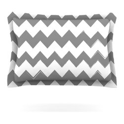 "Kess InHouse - KESS Original ""Candy Cane Gray"" Chevron Pillow Sham (Woven, 30"" x 20"") - Pairing your already chic duvet cover with playful pillow shams is the perfect way to tie your bedroom together. There are endless possibilities to feed your artistic palette with these imaginative pillow shams. It will looks so elegant you won't want ruin the masterpiece you have created when you go to bed. Not only are these pillow shams nice to look at they are also made from a high quality cotton blend. They are so soft that they will elevate your sleep up to level that is beyond Cloud 9. We always print our goods with the highest quality printing process in order to maintain the integrity of the art that you are adeptly displaying. This means that you won't have to worry about your art fading or your sham loosing it's freshness."