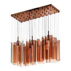 Sonneman - Chimes Polished Bronze Five-Light Rectangle Pendant with Bronze Shade - - Light shimmers, peeks through, and is reflected by the subtle movements of warm bronze glass panels that gently rotate on their monofilaments. Chimes is a kinetic sculptural experience, from fixtures in many sizes to an entire custom ceiling that will dazzle and delight. Fixture Includes: 45pcs Bronze Glass.  - Chain or Rod Length: 120 Adjustable Cord  - Canopy: 11L x 26W  - Bulbs NOT included  - Shade Length/depth: 0.25  - Material: Glass, Metal  - Made in China Sonneman - 4646.02