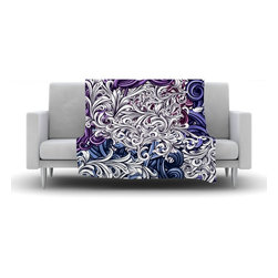 """Kess InHouse - Nick Atkinson """"Celtic Floral I"""" Purple Abstract Fleece Blanket (80"""" x 60"""") - Now you can be warm AND cool, which isn't possible with a snuggie. This completely custom and one-of-a-kind Kess InHouse Fleece Throw Blanket is the perfect accent to your couch! This fleece will add so much flare draped on your sofa or draped on you. Also this fleece actually loves being washed, as it's machine washable with no image fading."""