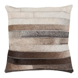 """Kathy Kuo Home - Amos Rustic Lodge Stripe Hair on Hide Pillow - 20"""" x 20"""" - * 20 inches high x 20 inches wide"""