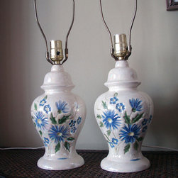 Vintage Pair of Lamps Ceramic Gorgeous Cornflower Blue Flowers by Boho Quilts - This is a perfectly sweet pair for a sweet space. I love frilly guest rooms because they make me feel so comfortable, and I could imagine this lamp pair flanking a bed done up with ruffly white linens. These would also be a sweet addition to a little girl's room or nursery.