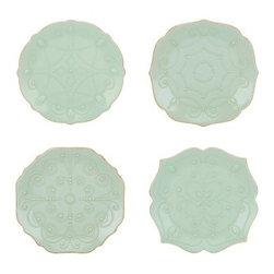 Lenox French Perle Ice Blue Assorted Plates - Set of 4 - About Lenox CorporationLenox Corporation is an industry leader in premium tabletops, giftware, and collectibles. The company markets its products under the Lenox, Dansk and Gorham brands, propelled by a shared commitment to quality and design that makes the brands among the best known and respected in the industry. Collectively, the three brands share 340 years of tabletop and giftware expertise.