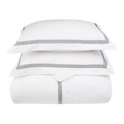 Miller King/Cal - King Duvet Cover Set Cotton - White/Grey - Miller King / Cal - King Duvet Cover Set Cotton - White / Grey