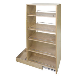 """Hardware Resources - Pantry Cabinet Pullout.  8-1/2"""" x 22-1/4"""" x 57-1/2"""". - Pantry Cabinet Pullout 8 1/2"""" x 22 1/4"""" x 57 1/2"""".  Featuring 225# full extension ball bearing slides  adjustable shelves  and clear UV finish.  Species:  Hard Maple.  Ships assembled with removeable shelves and shelf supports."""