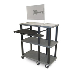 H. Wilson - Extra Wide Presentation Station w LCD Mount - Three injection molded plastic shelves. 1.5 in. square legs that will not chip, warp, crack, rust or peel. 0.25 in. safety retaining lip and a raised texture surface to enhance product placement. Ensures minimal sliding. Six 4 in. silent roll. Full swivel ball. Heavy duty 4 in. casters, two with locking brake. Made high density polyethylene, plastic and recycled materials. Assembly required. Made in USA. Pullout shelf: 19.63 in. L x 15.63 in. W. Distance between shelves: 16.5 in.. Shelf: 36 in. L x 18 in. W x 1.5 in. H. Overall: 36 in. L x 18 in. W x 42.5 in. H. Warranty