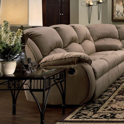 Recline Designs Furniture - Gabriella Microsuede Queen Sleeper Sofa - Upholstered in Brown microsuede fabric