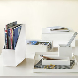 Lacquer Office - These lacquer accessories are great for organizing your space while still keeping a clean and polished look. I especially love the magazine butler and paper tray.